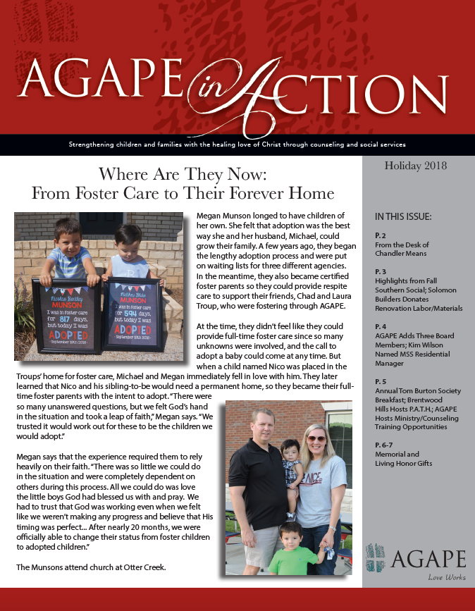 AGAPE in Action - Holiday 2018